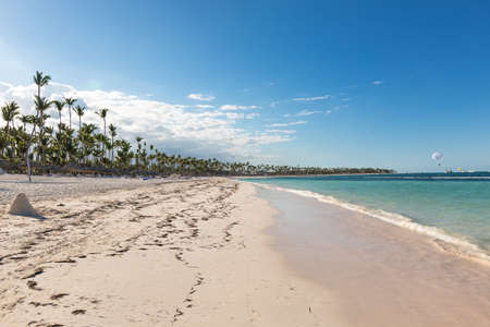 Dominican Republic coastline with resorts, palm trees and ocean. Travel destinations Punta Cana, caribbean vacations, nobody