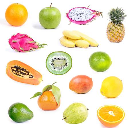 Set of defferent fruits isolated on white background. Vegan collage Reklamní fotografie