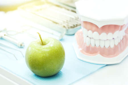 Human model jaw with fresh green apple on stomatology table. Dentistry, teeth hygiene and health care concept.