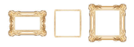Set of Golden frames isolated on white background Reklamní fotografie