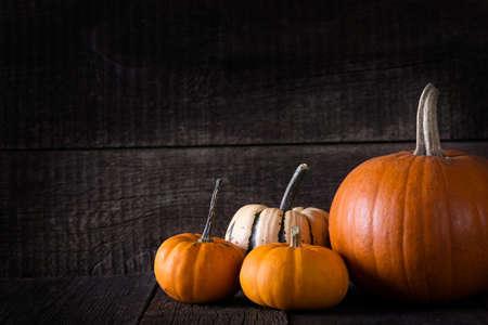Halloween pumpkin on wooden background. Autumn background