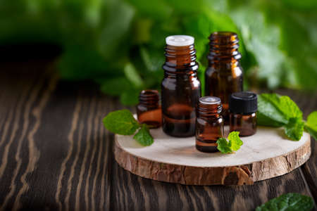 Collection of blank amber bottles with essential oil on wooden table with fresh mint leaves. Aromatherapy concept