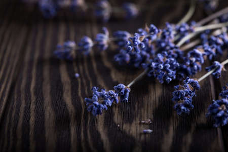 Dry lavender sprigs on wooden background, aromatherapy and aroma fragrance for home interior 스톡 콘텐츠
