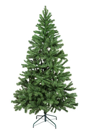 Artificial fir tree closeup on white background. False struce tree isolated 스톡 콘텐츠
