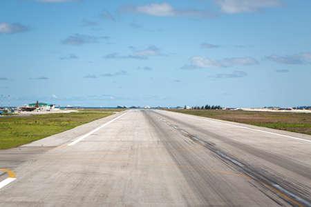 Empty Runway in airport. Nobody. Asphalt road for airplanes