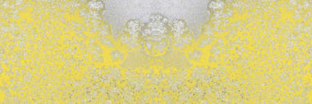 Winter iced pattern on frozen window glass, macro frosty crystals ornament. Long banner. Trendy colors of 2021 - Ultimate Gray and Illuminating