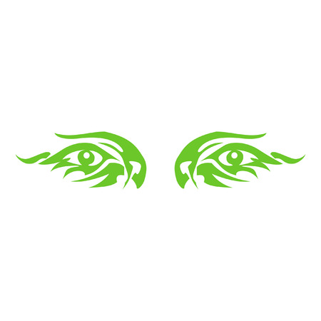 two: Two eyes. Green