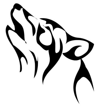 wolf howling. Black Illustration