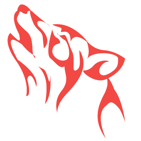 wolf howling. Red