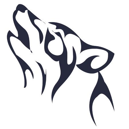 wolf howling. dark blue