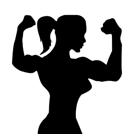 triceps: bodybuilder girl with big muscles. muscle woman