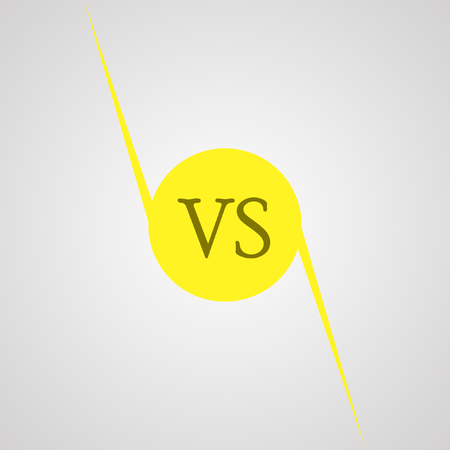 standoff: yellow outline versus sign like opposition. concept of confrontation, together, standoff, final fighting. isolated on white background. flat style modern logotype design vector illustration Illustration