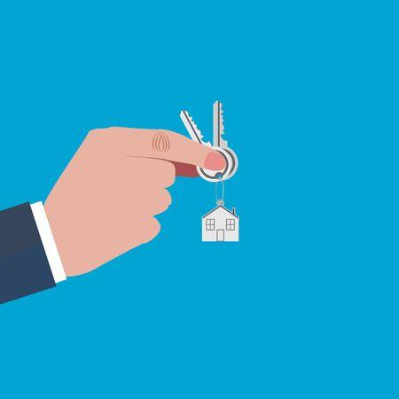thumb keys: mano sostiene las llaves de la casa del pulgar Vectores