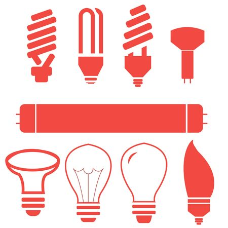 lamp vector: lamps for home different shape energy saving lamps, normal bulb, fluorescent.