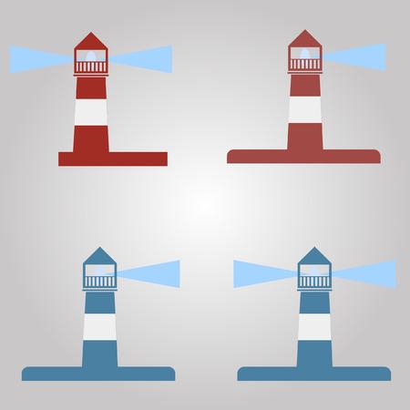 any size: set. lighthouse, red, blue. icon, logo, vector illustration, any size. Illustration