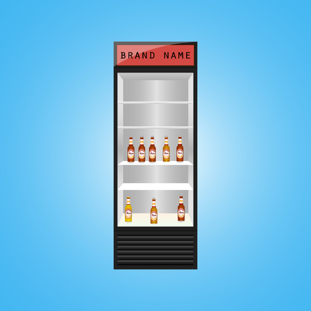 fridge: fridge with cans and bottles Illustration