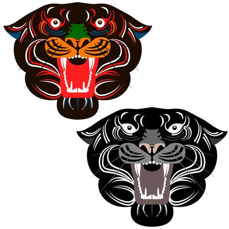 trees illustration: lion head, lines