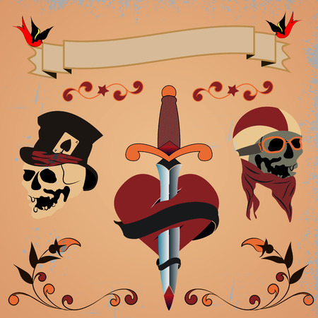 needed: Vintage banners and ribbons needed for the emblems  . Ribbons   in grunge style.  Scratches and text.skull in hat, skull rider, heart pierced with a dagger