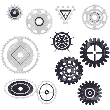 any size: Set of gear wheels in black and white. Any size, mechanism.grunge Illustration