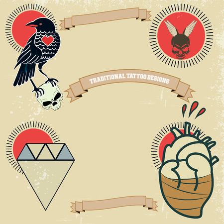 crystal heart: Vintage banners and ribbons needed for the emblems  . grunge style.   Scratches and text.Raven, skull, crystal, heart, blood, yellow and red, retro, swirls tattoo