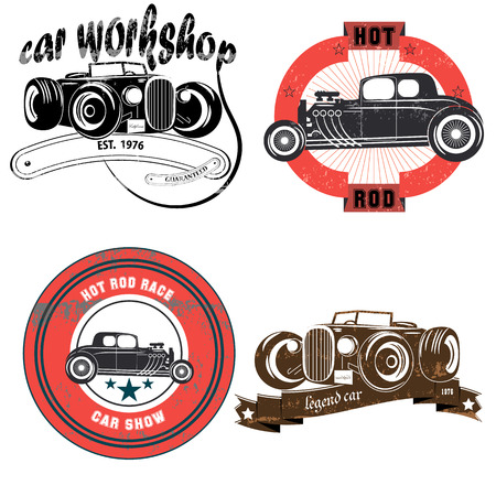 old cars: Vintage banners and ribbons needed for the emblems  . Ribbons  . birds old school. Scratches and text. complex tape. on white background, isolated