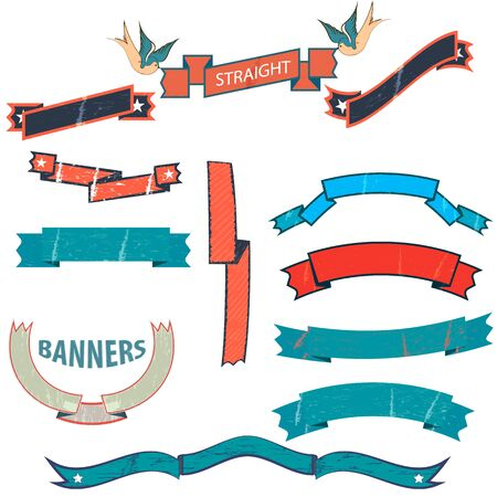 Vintage banners and ribbons needed for the emblems  .  birds old school. Scratches and text. complex tape. on white background, isolated