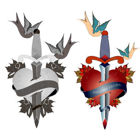 sword and heart: style tattoo, old school, grunge, heart pierced with a sword, birds, flowers, black and white and color Illustration