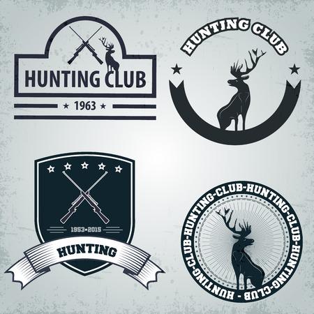 hunters: Club hunters, deer, shotgun, sign, emblem, grunge, icon,  scratches. Illustration