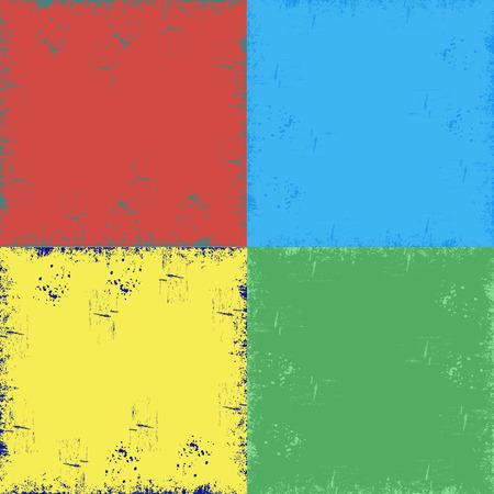 textura: cuatro fondo, azul, verde, rojo, amarillo, rayas, grunge. sucio, fondo rayado