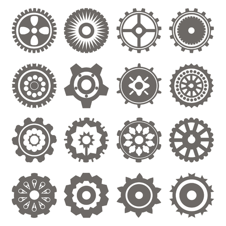 spin: Set of gear wheels in black and white. gear, cog, wheel, can be the mechanism. vector. easy to change color Illustration