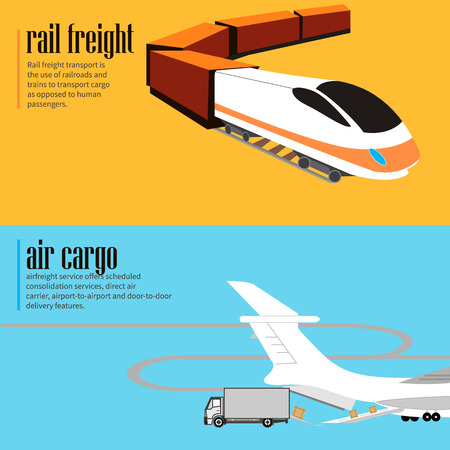 rail yard: Horizontal flyers. Logistic concept flat banners set of rail and air transport delivery services abstract isolated vector illustration Illustration