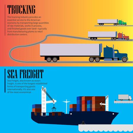 はしけ: 物流コンセプト フラット バナー海貨物運送サービスを抽象化分離ベクトル イラスト - 株式ベクトル  イラスト・ベクター素材