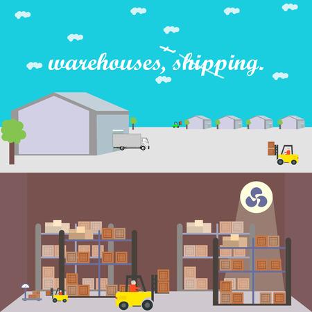倉庫、運送、配送、格納庫、バナー、分離ベクトル イラスト