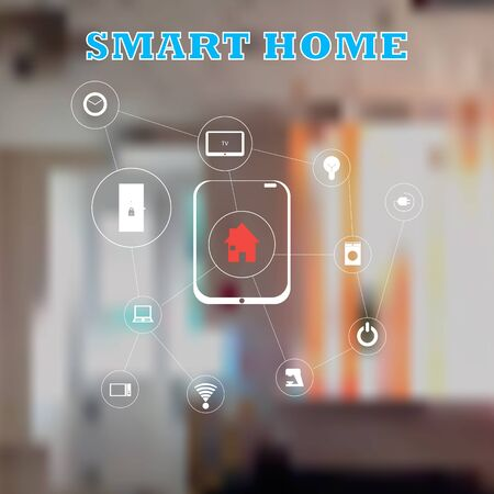 vector control illustration: Smart home, Control of things the tablet. phone. Internet of things concept with vector illustration