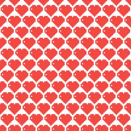 8 bit: coraz�n, coraz�n hecho de plazas, 8 bits del coraz�n, modelo, ilustraci�n vectorial