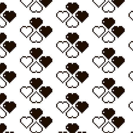 8 bit: heart, heart made of squares, 8 bit heart, pattern, vector illustration