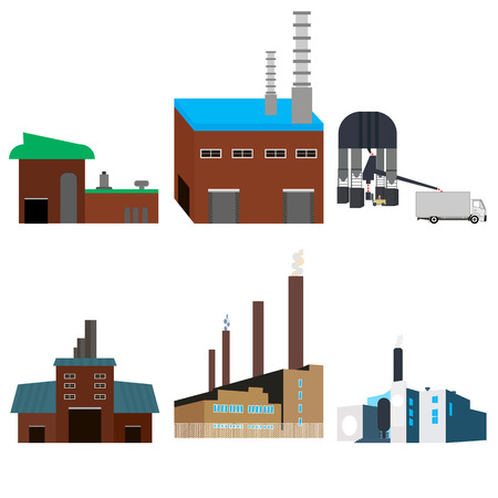 manufactory: factories, buildings, factory power electricity industry manufactory buildings flat decorative icons set isolated vector illustration