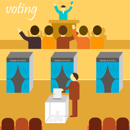 voting: vote. there is a vote, election, referendum, ballot, citizens, voting booth, ballot stuffing, election of the President Illustration