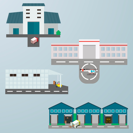 warehouse building: Warehouse building flat icons set with transportation
