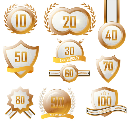 Anniversary Label Set gold with the white.