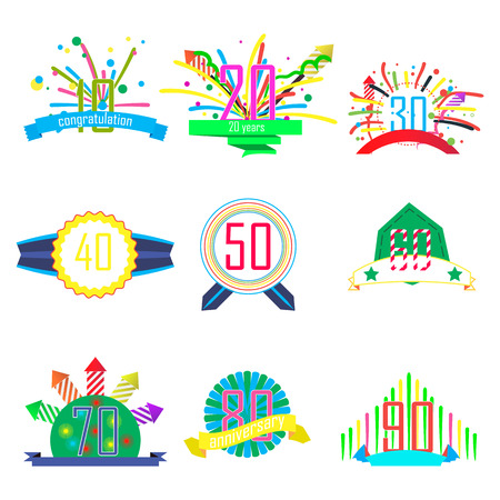 20th: anniversarybanner, icon with dates, ten years, fifty years, ninety years, set. the fireworks begin.