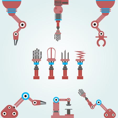 set mechanische armen robots. Set van onderdelen voor een machine of een robot. Stock Illustratie