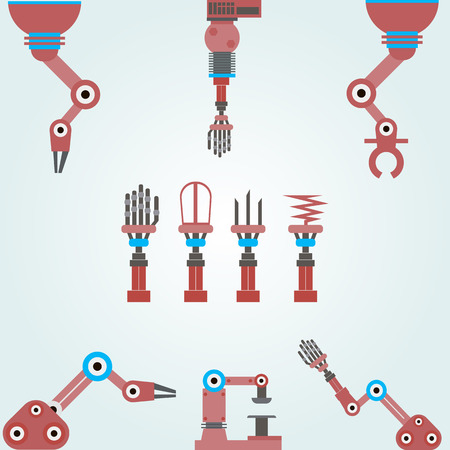 robot hand: set of mechanical arms, robots. Set of parts for a machine or a robot.