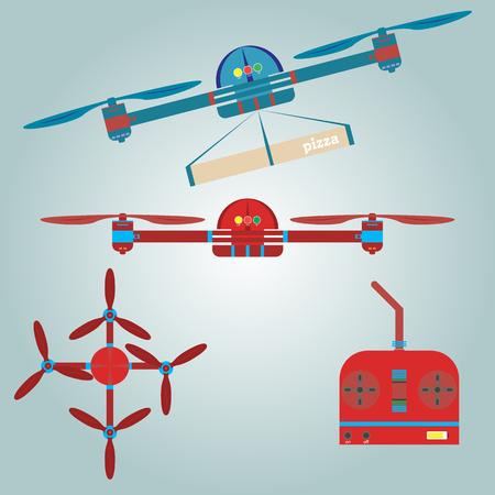 Quadrocopter, remote, pizza delivery Vectores