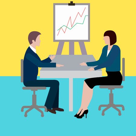 man and woman at the table, business communication, schedule, interview.