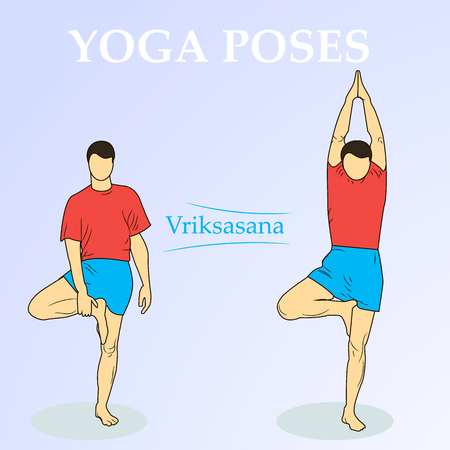 yoga asana tree pose: sporty man doing exercise for spine, standing in asana Vrikshasana Vriksasana, Tree Pose, hands above the head in anjali mudra, yoga for relieving stress. isolation from the background.