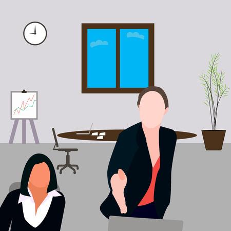 사무실에서 여자는 밖으로 도달, 두 여자, 소녀 앉아, 사무실, 관리자, 고용.