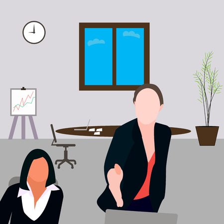 girl in the office reaches out, two girls, girl sitting, office, Manager, hires.