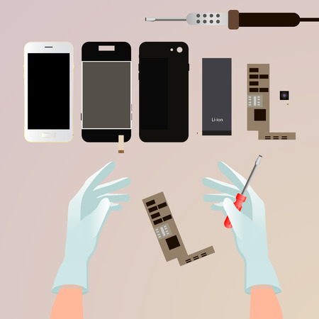repair the phone. hand with a screwdriver, disassembled the phone. of the phone. vector. clipart Vectores