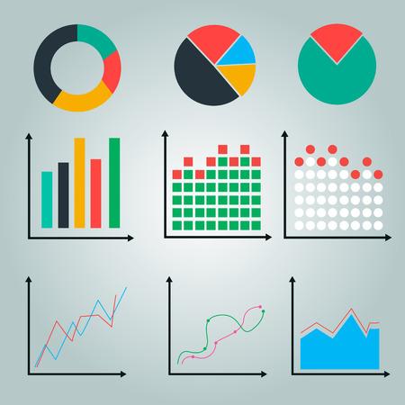 financial graph: graphs, charts. line graph, pie chart, round chart.